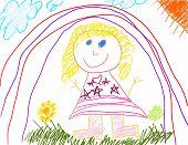 Little Girl'S Self Portrait