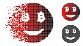 Glad Bitcoin Smiley Icon In Dispersed, Pixelated Halftone And Undamaged Entire Versions. Cells Are C poster
