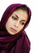 picture of middle eastern culture  - middle eastern beauty in a scarf looking down - JPG