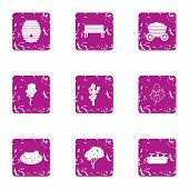 Private Park Icons Set. Grunge Set Of 9 Private Park Vector Icons For Web Isolated On White Backgrou poster