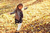 Happy Child Walking In Autumn Park. Baby Girl Throwing The Fallen Leaves Up. Beautiful Golden Autumn poster