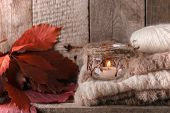 Sweet Home. Christmas Fall Autumn Decor On Vintage Wooden Background. Monochrome Photo, Hygge Style poster