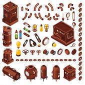 Steampunk Art Constructor Isometric  Collection Of Design Elements Inspired By 19th Century Steam Po poster