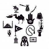 Turkey Travel Icons Set. Simple Illustration Of 16 Turkey Travel Icons For Web poster