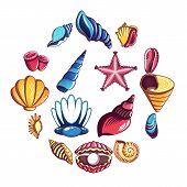 Tropical Sea Shell Icons Set. Cartoon Illustration Of 16 Tropical Sea Shell Icons For Web poster