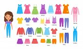 Girl Clothes. Vector. Baby Clothing. Cartoon Female Character Paper Doll With Casual Cloths Set Isol poster