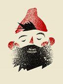 Typographic Grunge Vintage Christmas Card Design With Cartoon Bearded Man. Retro Vector Illustration poster