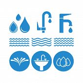 Water Flat Vector Icons Set. Fauset Water, Splash, Water Spray, Drops, Waves, Washstand Flat Vector  poster