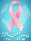 Breast Cancer. Awareness Month. Pink Ribbon. World Map Of Planet Earth. Banner For Your Design. Figh poster