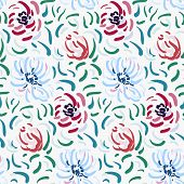 Seamless Pattern Of Blue And Red Anemone Flowers In Post-impressionism Style poster