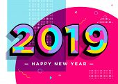 2019 Happy New Year Vector Card. Textured Numbers. Trendy Typography With Geometric Hipster Pattern  poster