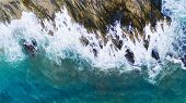 Aerial View Of Waves Crashing On Rocks,seascape With Birds Eye View Shot Over Ocean Waves Image For  poster