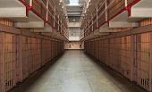 picture of cell block  - Long row of prison cells at Alcatraz - JPG