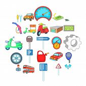 Motor Car Icons Set. Cartoon Set Of 25 Motor Car Vector Icons For Web Isolated On White Background poster