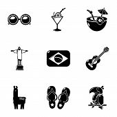 Brazilian Trip Icons Set. Simple Set Of 9 Brazilian Trip Vector Icons For Web Isolated On White Back poster