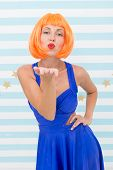 Lady Red Ginger Wig Posing In Blue Dress. Comic Actress Concept. Woman Playful Mood Having Fun. Lady poster
