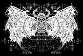White Demon With Sacred Geometry Signs On Wings Against Black Mystic Background. Esoteric, Occult An poster