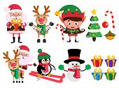 Christmas Characters And Elements Vector Set With Santa Claus, Reindeer, Elf And Snowman Holding Chr poster