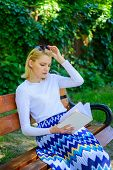 Favourite Book. Woman Blonde Take Break Relaxing In Park Reading Book. Girl Sit Bench Relaxing With  poster