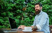 Hipster Freelancer Work Online Blog Notebook. Man Bearded Businessman Sit Terrace With Laptop And Cu poster