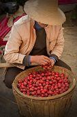 Постер, плакат: Азиатские мужчины в китайский шляпе с корзиной маленькие красные яблоки
