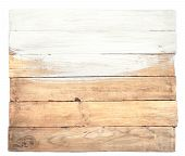 Old Planks With Half Of It Painted In White. Grunge Wood Board With Brush Isolated On White Backgrou poster