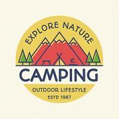Vector Camping Banner Colorful Style With Mountains, Tent, Fire And Trees For Travel Badge, Tourist  poster