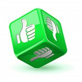 Dice thumb up icon. Green