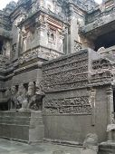 stock photo of ellora  - Ancient stone carvings in Ellora Caves in India - JPG