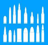 Bullet Gun Military Icons Set. Simple Illustration Of 16 Bullet Gun Military Vector Icons For Web poster