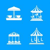 Carousel Carnival Horse Icons Set. Simple Illustration Of 4 Carousel Carnival Horse Vector Icons For poster