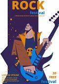 Rock Music Festival Poster Illustration. Rocker Concert Placard Or Entry Ticket Flat Cartoon Design  poster