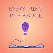Text Sign Showing Everything Is Possible. Conceptual Photo Any Outcome Could Occur Anything Can Happ poster