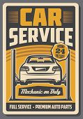 Car On Diagnostic Two Post Automotive Lift. Car Repair Full Service Retro Poster Of Auto Garage And  poster