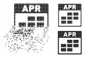 April Calendar Grid Icon In Dispersed, Pixelated Halftone And Undamaged Variants. Pieces Are Compose poster