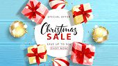 Web Banner For Christmas Sale. Elegant Background With Top View On Realistic Gift Boxes And Christma poster