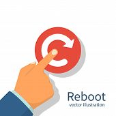 Reboot Concept. Restarting Technology. Hand To Push Big Red Button. Vector Illustration Flat Design. poster