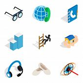 Job Sample Icons Set. Isometric Set Of 9 Job Sample Icons For Web Isolated On White Background poster