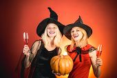 Frightened Friends At A Halloween Party. Best Friends Girls Celebrates Halloween. Happy Brightful Po poster