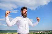 Man Bearded Hipster Feels Powerful And Full Of Energy When Reached Top Achievement. Man Emotional En poster