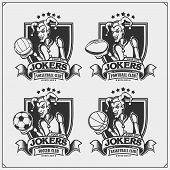 Volleyball, Baseball, Soccer And Football Badges And Labels. Sport Club Emblems With Joker. poster