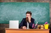 Educator Bearded Man Yawning Face Tired At Work. Educators More Stressed At Work Than Average People poster