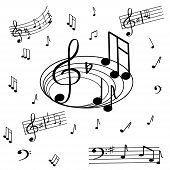 A Magnificent Musical Note, A Seamless Pattern On A White Background.splash, Bass Keys, Notes In Bla poster