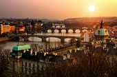 stock photo of breathtaking  - Panoramic view on Charles bridge and sunset Prague lights - JPG