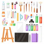 Artist Tools Vector Watercolor With Paintbrushes Palette For Color Paints On Canvas For Artwork In A poster