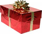isolated red Christmas Present with Gold Bow and Ribbon