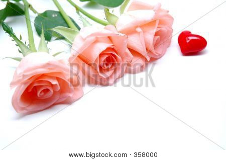 Pink Roses And A Red Heart