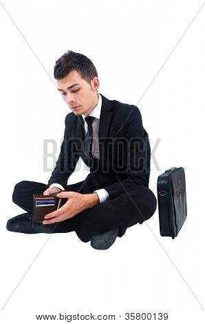 Isolated business man looking in wallet