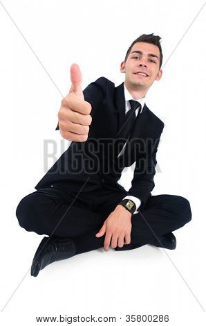Isolated business man showing ok sign
