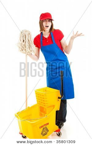Frustrated teenage worker stand holding her mop and bucket.  Isolated on white.